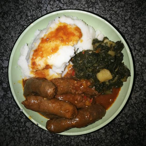 Boerewors with pap and kale