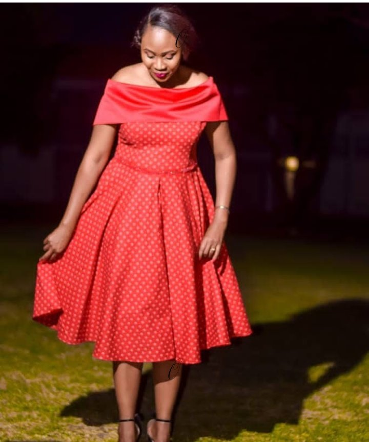 Red Drop Shoulder Shweshwe Dress