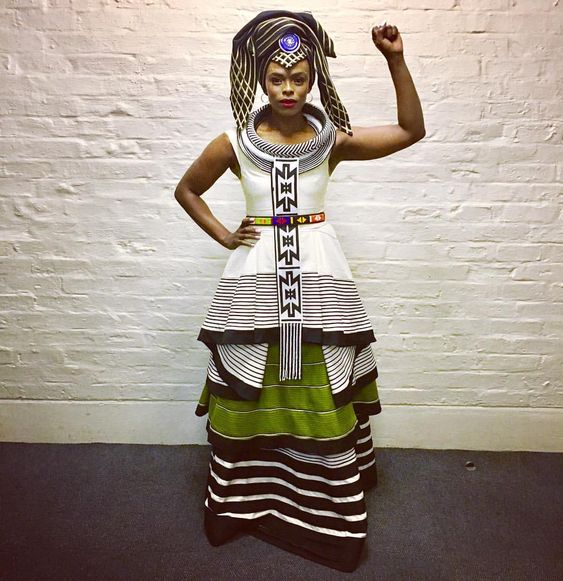 Unathi White and Green Xhosa Dress