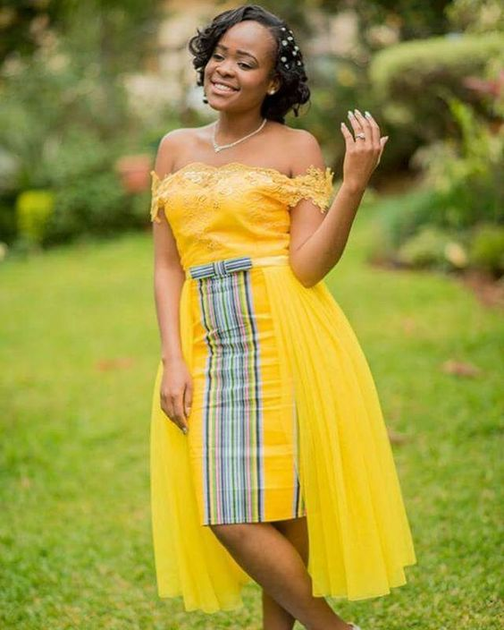 Yellow Traditional Venda Wedding Dress
