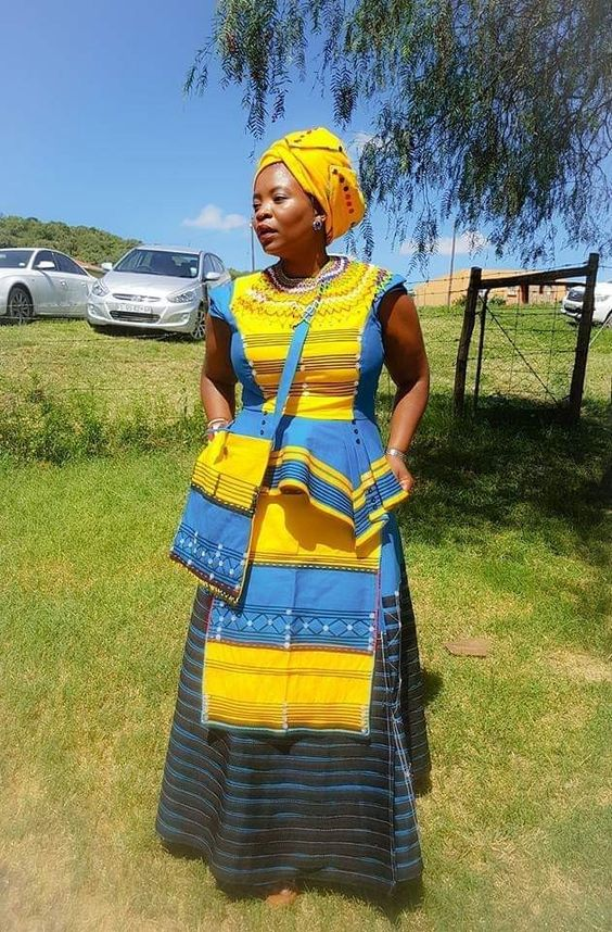 Yellow and Blue Xhosa Attire